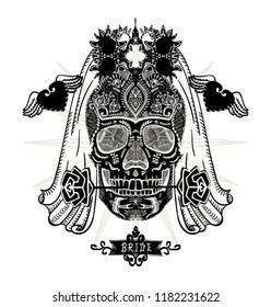 Hand drawn ornamental decorated bride skull, sugar skull with veil, t-shirt design concept, tattoo sketch, vector illustration