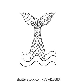 Hand drawn ornamental mermaid's tail. Vector illustration isolated on white background. Outline graphic tattoo