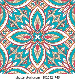 Hand drawn ornamental seamless pattern. Vector Illustration