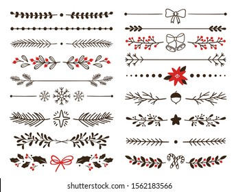 Hand drawn ornamental winter dividers. Snowflakes borders, Christmas holiday decor and floral ornate dividers. Ornamental wedding or Xmas card floral frames separators. Isolated vector symbols set