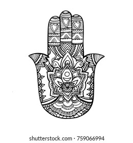 Hand drawn Ornate amulet Hamsa Hand of Fatima. Ethnic amulet common in Indian, Arabic and Jewish cultures. On white background.