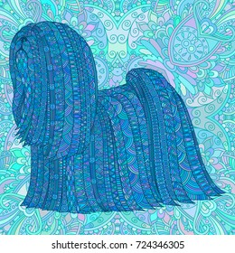Hand Drawn Ornate Blue Dog Decorative Vector Design For Coloring Books Art Therapy