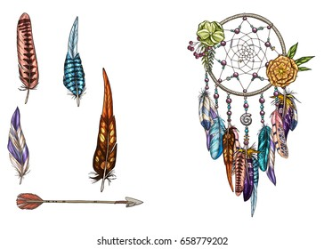Hand drawn ornate Dream catcher with feathers, gemstones and arrow. Card with art, astrology, spirituality, magic symbol. Ethnic tribal element. Vector illustration