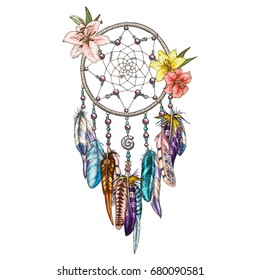 Hand drawn ornate Dream catcher with lily flowers. Astrology, spirituality symbol. Ethnic tribal element.