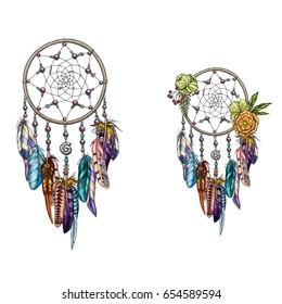Hand drawn ornate Dreamcatcher with feathers, gemstones. Card with art, astrology, spirituality, magic symbol. Ethnic tribal element