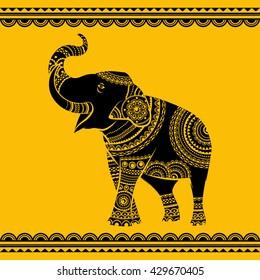 Hand drawn ornate elephant. Isolated vector illustration. Ideal ethnic background, tattoo, yoga, African, Indian,Thai, spirituality, boho design.