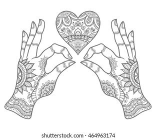 Hand drawn ornate heart and hands with tribal ethnic floral doodle pattern. Coloring book page, zendala, design for relax and meditation for adults, vector illustration, isolated on white background.