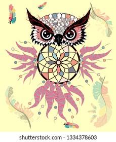 afa5d2b0 Hand drawn ornate spiritual symbols, totemic and mascot Owl with the dream  catcher and mandala