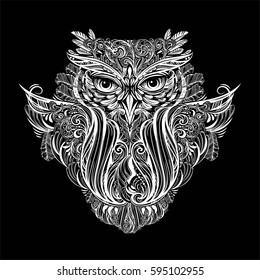 Hand drawn ornate spiritual symbols, totemic and mascot Owl. It can be used for tattoo and embossing or coloring. Ethnic patterned illustration in Boho style
