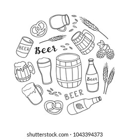 Hand drawn outline beer items composed in circle shape.
