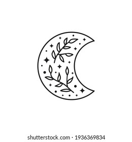 Hand drawn outline celestial bohemian crescent icon with leafy twig, stars and dots isolated on white background. Moon child illustration. Boho chic silhouette.