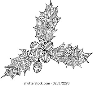 Hand drawn outline christmas holly illustration decorated with abstract zentangle ornaments