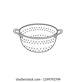 Hand drawn outline colander icon isolated on white background.