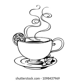 Hand Drawn Outline Cup of Tea with Saucer, Lemon, Mint Leaves and Curly Smoke. Vector Illustration.