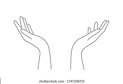 Hand drawn outline cupped hands illustration. Raised hands vector concept. Volunteering charity, votes, support, hope and peace. Vector human open hands isolated on white background