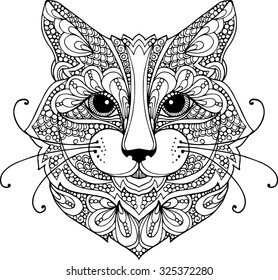 Hand drawn outline doodle illustration of a cat head decorated with zentangle ornaments