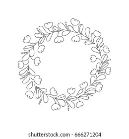 hand drawn outline floral wreath