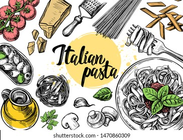 hand drawn outline of food