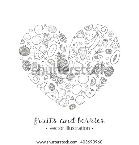 Hand Drawn Outline Fruits Berries Heart Stock Vector Royalty Free