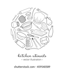 Hand drawn outline kitchen utensils composed in circle shape with lettering on white background.