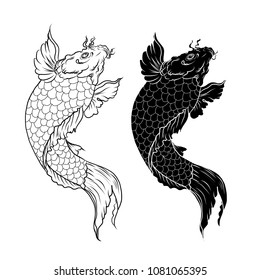 Hand drawn outline Koi fish and  Japanese tattoo.doodle art Koi carp fish for Japanese tattoo.