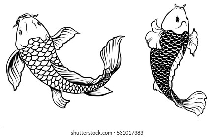 Hand drawn outline koi fish and japanese tattoo