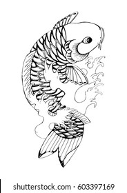 Hand drawn Outline koi fish tattoo with wave, Japanese carp line drawing coloring book vector image. Carp black silhouette vector isolated on a white background