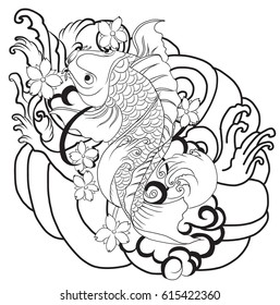 hand drawn Outline koi fish tattoo with flower, Japanese carp line drawing coloring book vector image