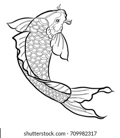 Hand drawn outline Koi fish and  Japanese tattoo.doodle art Koi fish for Japanese tattoo