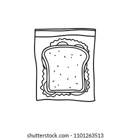 Hand drawn outline sandwich with bread, salad, tomatoes and ham in ziplog bag isolated on white background.