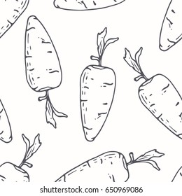 Hand drawn outline seamless pattern with carrot. Black and white food background. Vector illustration
