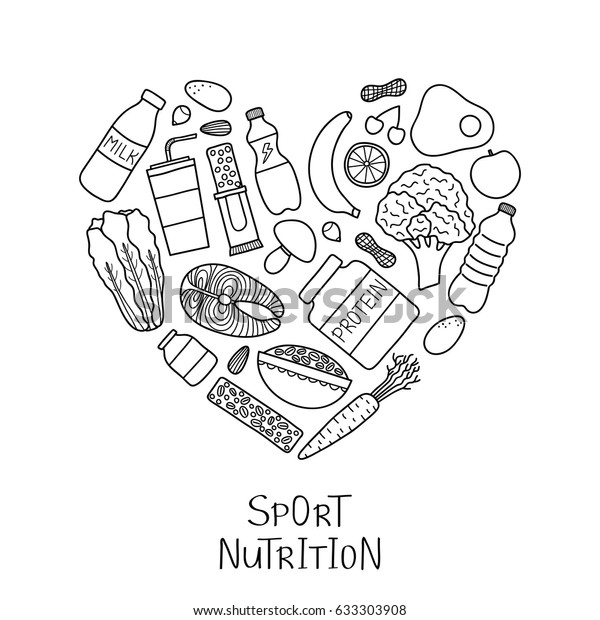 Hand Drawn Outline Sport Nutrition Items Stock Vector Royalty Free 633303908