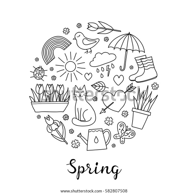 Hand drawn outline spring items including sun, cloud, umbrella, boots, flowers, cat, bird, butterfly, ladybug and rainbow composed in circle shape with lettering.