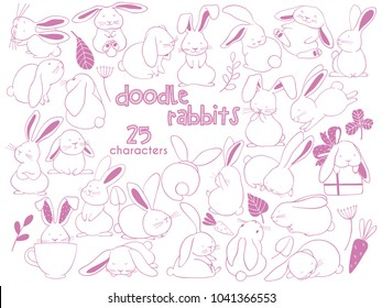 Hand Drawn outline vector illustrations of cute rabbits. Funny bunny characters. Doodle sketch style