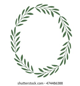 Hand drawn oval frame with herbs. Green laurel. Vector illustration.
