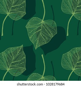 Hand drawn overlap Ivy leaves spring vector pattern in yellow and green colors palette
