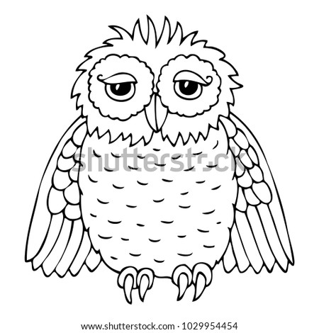 Hand Drawn Owl Vector Illustration Coloring Stock Vector (Royalty ...
