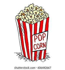 Hand drawn pack of pop corn, junk food, vector illustration