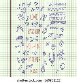 Hand drawn pack Valentine Day in copy book. Vector illustration