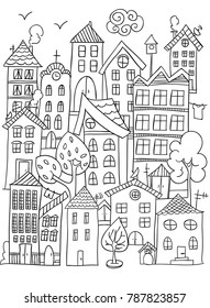 Hand drawn page for coloring book with a lot of houses. A small cute city in doodle stile. Black and white.