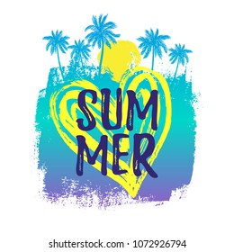Hand drawn paint background with palm trees and a heart with paint texture. Summer text.