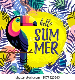 Hand drawn paint background with palm trees and a toucan. Hello Summer text. Tropical nature bright design elements.