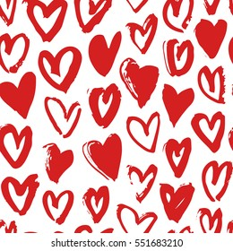 Hand drawn paint seamless pattern. Red and white hearts background. Abstract brush drawing. Grunge Vector art illustration