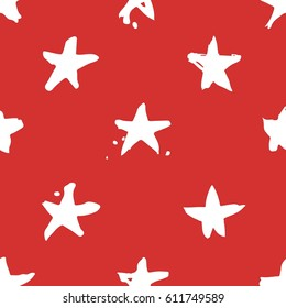 Hand drawn paint seamless pattern. Red and white stars brush drawing. Grunge Vector art illustration. Independence Day USA background