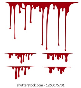 Hand drawn paint splatter, liquid melt. Horror leak. Blood drops. Vector isolated illustration.