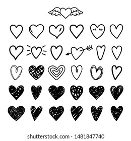 Hand drawn painted hearts. Heart shaped linear and scribble signs, vector scribbles love symbols on white, grunge stylized lovely marriage image decor