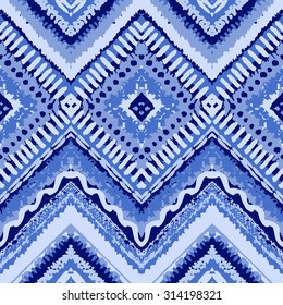 Hand drawn painted seamless blue pattern. Vector illustration for tribal design. Ethnic motif. Zigzag and stripe line. For invitation, web, textile, wallpaper, wrapping paper.