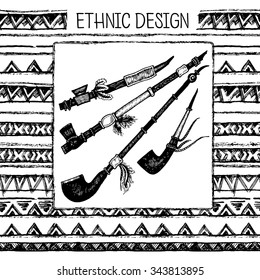Hand drawn painted seamless pattern. Tribal ethnic seamless. Black and white colors. Hand drawing ink black and white smoking pipe.