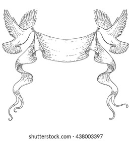 Hand drawn pair of flying doves with banner ribbon. Black and white contoured image. Space for text. Two pigeons vector sketch. Holiday decoration element.