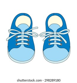 Hand drawn pair of kids shoes. It can be used for decorating of invitations, greeting cards, decoration for bags, t-shirt, cover.